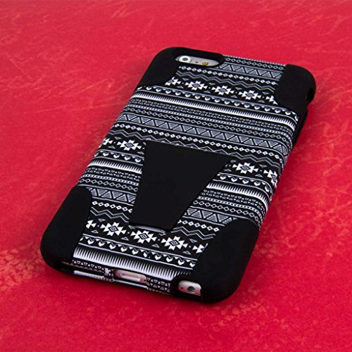 "MPERO IMPACT X Series Kickstand Case Tasche Hülle for Apple iPhone 6 Plus 5.5"" - Coral / Mint Black Aztec,IMPACT X"