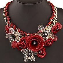 DELEY las Mujeres de la Flor del Encanto de Cristal Grueso de la Cadena de Babero Declaración Gargantilla Collar Collar