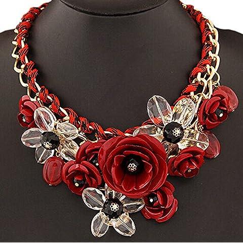 DELEY las Mujeres de la Flor del Encanto de Cristal Grueso de la Cadena de Babero Declaración Gargantilla Collar