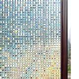 Rabbitgoo Sin cola 3D Vinilo Pegatina Translúcida Adhesiva Decorativa del Vidrio de Ventana Autoadhesiva con Electricida Estática para el Cristal de Ventanal de Baño Cocina Oficina Control de Calor y Anti UV 90*200cm