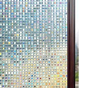 rabbitgoo Fensterfolie 3D Sichtschutzfolie Fenster Statisch Folie Selbsthaftend Privatsphäre Dekofolie Anti-UV für…