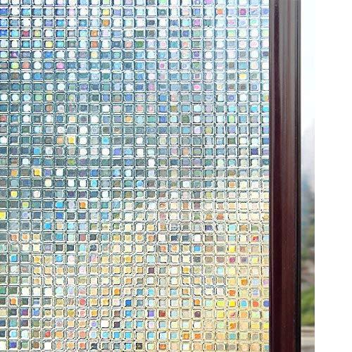 rabbitgoo Fensterfolie 3D Sichtschutzfolie Fenster Statisch Folie Selbsthaftend Privatsphäre Dekofolie Anti-UV für Zuhause oder Büro 44.5 x 200 cm -