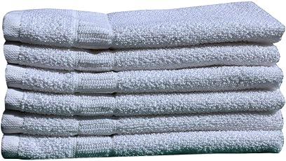 Mandhania Cotton Soft Towel Set of 6 Pieces, Hand Towels (35 X 52cm.) - White
