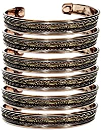 YADAV HANDICRAFTS Pure Copper Bedded Design Magnetic Therapy Golf Cuff Wrist Bangle for Unisex Pattern Women's Men's Spiritual Yoga Jewelry Arthritis Pain Healing Magnetic Health Pack of