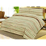 Love2Sleep COTTON RICH GRAPHIC PRINT BROWN AND BEIGE STRIPED DUVET COVER & PILLOWCASES SET: DOUBLE - TUSCANY