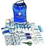JFA Erste-Hilfe-Set, 170-teilig - inklusive Rettungsdecke, Eisbeutel, Wundverschlussstreifen, Verbandmaterial, geeignet für zu die Verwendung zu Hause, im Büro, im Auto und auf Reisen - blau