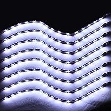 XINBAN LED Neonlichter Streifen Auto 8x 30cm 15SMD LED Auto Innenbeleuchtung Streifen Strip Leiste Lichterkette Wasserdicht 12V [Energieklasse A+](Weiß)