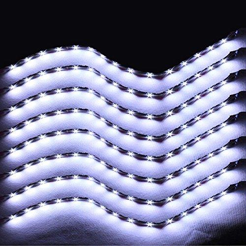 Preisvergleich Produktbild XINBAN LED Neonlichter Streifen Auto 8x 30cm 15SMD LED Auto Innenbeleuchtung Streifen Strip Leiste Lichterkette Wasserdicht 12V [Energieklasse A+](Weiß)