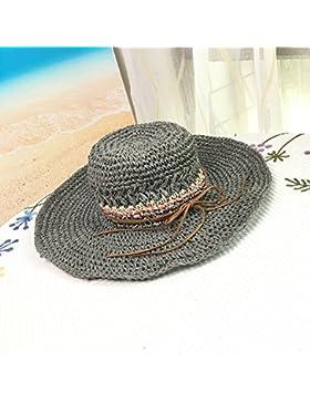 LVLIDAN Sombrero para el sol del verano Lady Anti-sol Gran cara ancha playa sombrero de paja artesanal gris de...