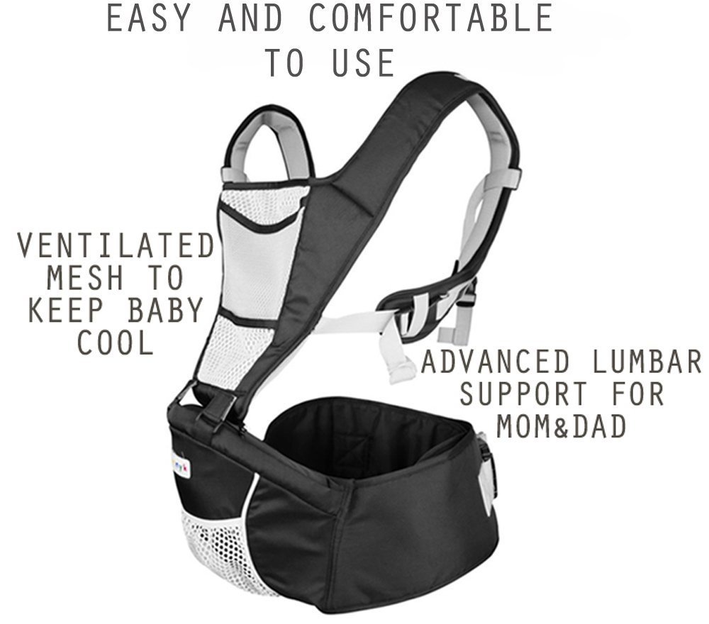 Baby Carrier Hip Seat Sling by NimNik Best Safe Backpack Carriers Back Pain Support (Pearl Black) NimNik ★ NO MORE BACK AND SHOULDER PAIN - NimNik offers an innovation in baby carrying fashion and quality for girls and boys! This Soft Structured Baby Carrier is not only versatile with four different carry positions, but perfectly comfortable for both you and your little one. That twined with unmatched durability makes NimNik Baby Carriers a popular choice in ergonomic baby carriers! ★ DESIGNED FOR STYLE AND COMFORT - With superior padding in our adjustable EXTRA LONG WAIST STRAPS (50 inches / 125 cms) and ergonomic lumbar support for you, say goodbye to backpain and other back, hip and shoulder related carrying issues. With the extremely ergonomic hip seat, you can rest assured that your little one is sitting pretty in style and comfort no matter how you carry! ★ PREMIUM COTTON FOR SOFT AND COSY FEELING - From front facing out and facing in, to hip, to back carry, you'll be comfortable, and so will children. Not every baby likes to be carried the same way, from 6 months and up. Our baby carrier comes with a wide range of comfortable carry positions to use as best suits the both of you, without the back pain after maternity. 5