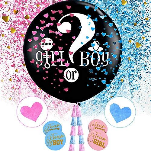 l Baby Geschlecht Offenbaren Ballons, Junge Oder Mädchen Ballons Kit Blau Rosa Konfetti Dekoration Dusche Kinder Party Kuchen, Black Letter Printing Latex Ballon ()