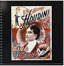 3dRose db_113989_1 Vintage Houdini King of Cards Advertising Poster Framed in Black-Drawing Book, 8 by 8-Inch