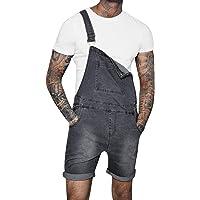 semen Mens Denim Bib Overall Shorts Casual Jeans Romper Summer Dungarees Jumpsuit Above Knee Length