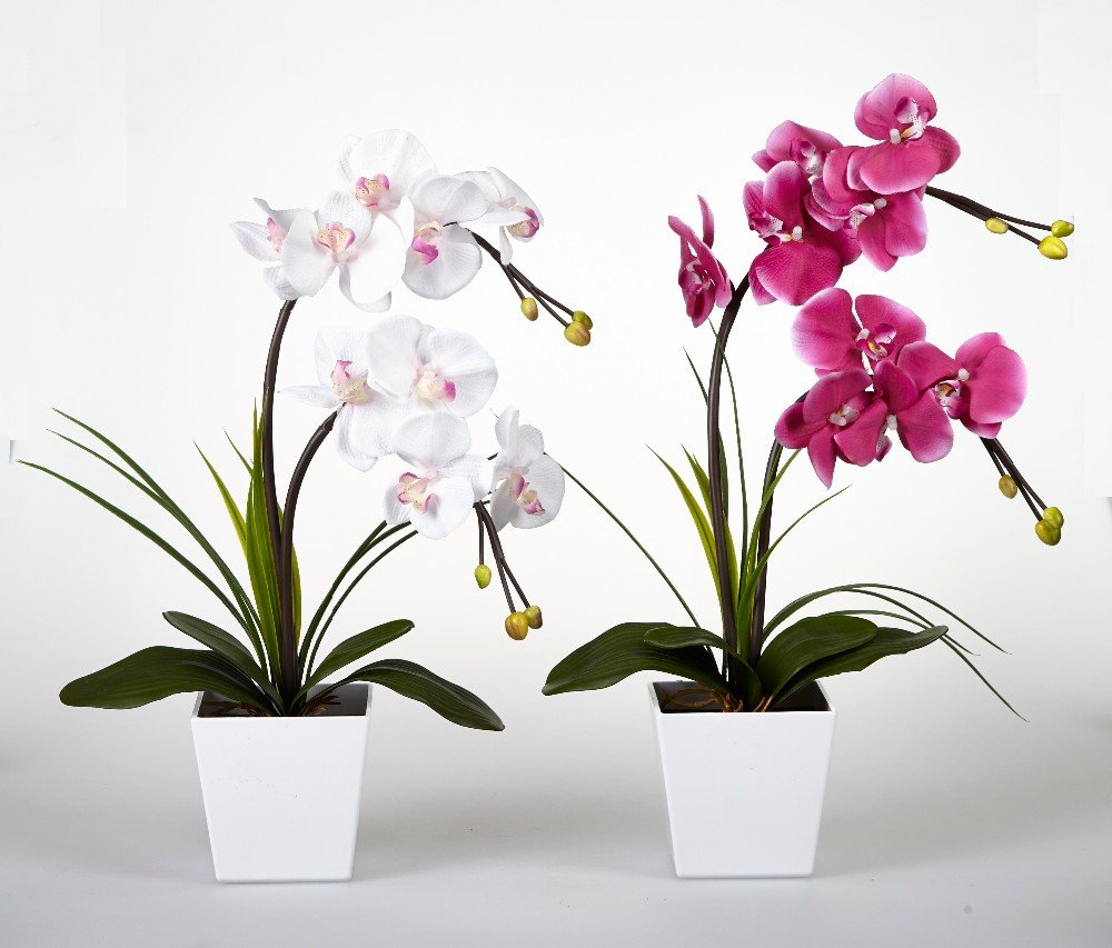 Floristlighting – Arreglo de flores artificiales iluminadas con LED – Maceta de orquídeas con 9 luces.