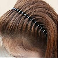 Unisex Black Spring Wave Metal Hoop Hair Band Girl Men`s Head Band Accessory (