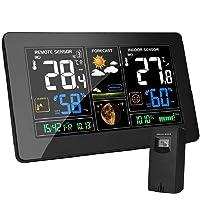 vonivi EU-Adapter Wetterstation mit Außensensor Funk Digitales Farbdisplay DCF-Funkuhr Multifunktionale…