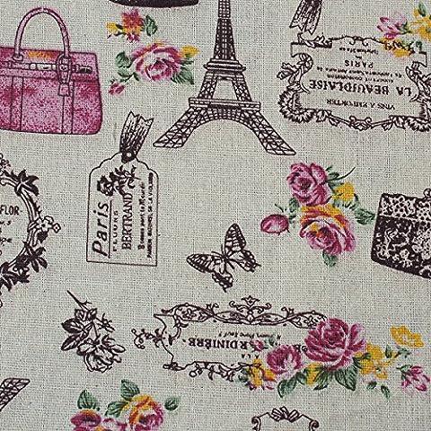Souarts Textile Tissu Coton Lin pr Diy Patchwork Couture Motif Tour Eiffel Rose 150cm x100cm