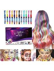 Haarkreide, Innoo Tech Kinderschminke Set, Haartönung & Gesichtsbemalung, 12 Farben Tragbare Kreidestifte, temporäre Haarfarbe, Geeignet für Alle Haarfarben