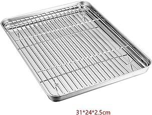 Morehappy7 Mini-Backblech mit Gestell Set, Edelstahl Backblech Ofenform mit Kühlrost, gesund und und ungiftig, leicht zu reinigen und spülmaschinenfest