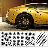 GORDESC 1 STÜCK Dekoration Zufällig Auto Aufkleber 3D Einschussloch Auto Styling Zubehör Motorrad Scratch Aufkleber oOdoor Muster Lustige Autoaufkleber