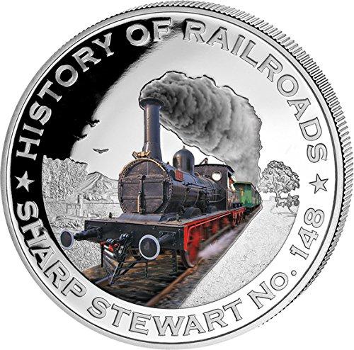 sharp-stewart-no-148-bulgaria-history-of-railroads-train-silver-coin-5-liberia-2011