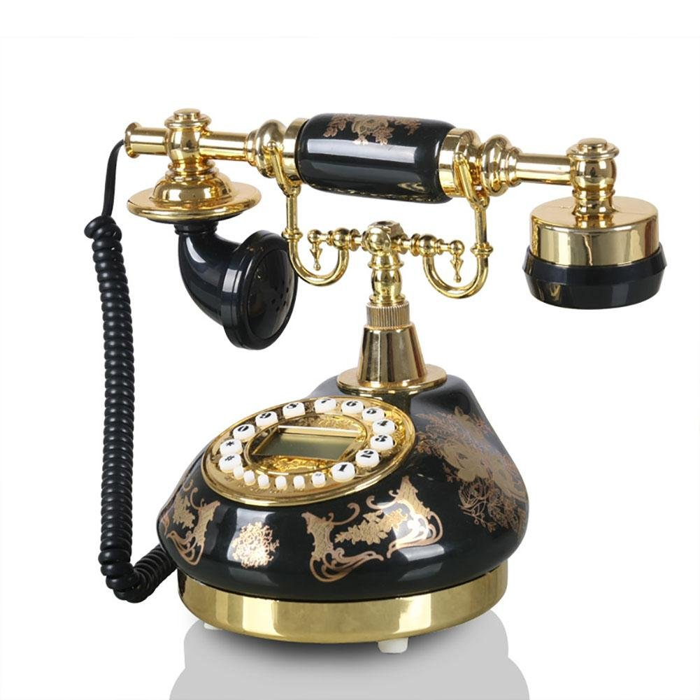 BBIAY Retrò artigianato, telefono per scrivania, stile ceramico nero intagliato, camera da letto di