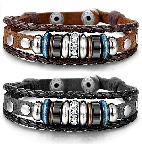 BESTEEL Schmuck Vintage Leder Armbänder für Herren und Damen Armband CZ geflochten Armreifen Länge Verstellbar