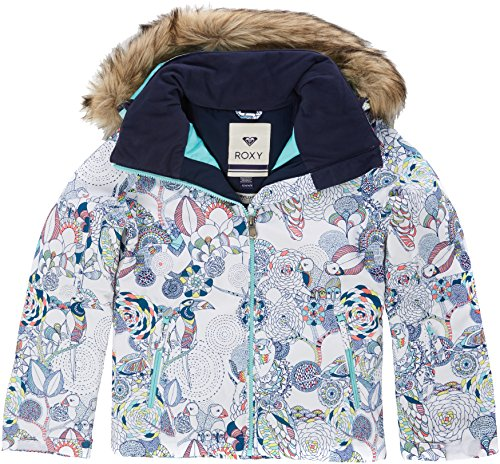74c7fcfe Roxy Jet Ski Girl Jk Chaqueta para Nieve, niñas, Blanco (Bright White  Pattern_1