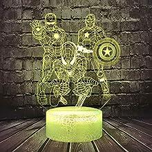 La veilleuse Avengers, Lampe de chevet 3D Illusion Marvel Comic Homme de fer homme Spiderman Capitaine Amérique Veilleuse LED pour enfant Télécommande 7 Couleur de Noël décor de chambre(Les Vengeurs)