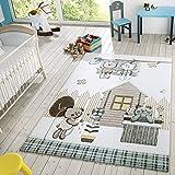 T&T Design Kinder Teppich Moderner Spielteppich Teddy Welt Pastell Töne In Blau Creme, Größe:140x200 cm