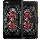 Huawei P10 lite Tasche Hülle Flip Case ACDC Merchandise Fanartikel black ice