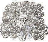 200 gramos surtidos de metal de bronce steampunk fabricación de joyas encantos Cog reloj rueda (200Gram, Plata)