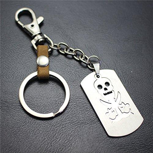 Huayer Schlüsselanhänger Taschendekoration Doppelschicht Hohl Piraten Schädel Anhänger Legierung Schlüsselanhänger Geldbörse Handtasche Auto Charme Keychain Geschenk (Piraten Geldbörse Herz)