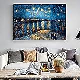 Hechuyue Illustrazione impressionabile del Salone della Replica della Parete della Pittura di Paesaggio delle Stampe su Tela di Notte Stellata dell'impressionista Pittura Senza Cornice 60x90cm