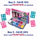 Face Paint Kit with 30 Stencils XX Large. Face Painting Set for Kids -12 Colors Party Pack +Glitter Gel +3 Brushes +BONUS Online Guide, Cosmetic Grade Safe Non-Toxic, Water-Based. Paints 100+ faces