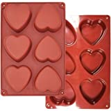 Heart Silicone Molds 6 Holes - 6-Cavity Heart Shaped Silicone Mold Resin Making Kit Larger Thicker Mother's Day for Hot Choco