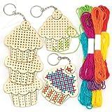 Kits de llaveros de madera para punto de cruz en forma de pastel, perfectos para decoraciones y manualidades infantiles (pack de 5)