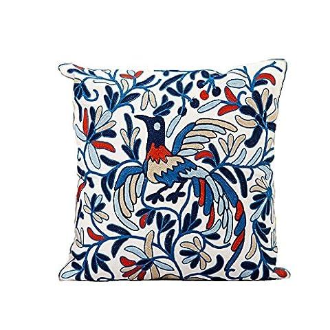 Loulanjx Laine Hand-embroidered, épaisse en tissu Taie d'oreiller éléphant Motif Phoenix en coton Motif art Couvre-lit Taie d'oreiller pour lit Canapé décoratifs 45x 45cm (45,7x 45,7cm), Coton, Blue phoenix, 45 cm x 45 cm