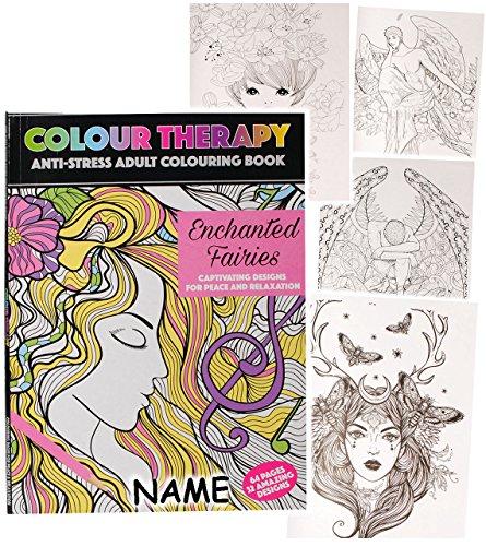 alles-meine.de GmbH 1 Stück _ A4 - großes Malbuch -  Colour Therapy - Feen & Elfen - Fabelwesen  - incl. Name - 64 Seiten - Anti Streß - für Erwachsene & Kinder - Tattoo Dot St..