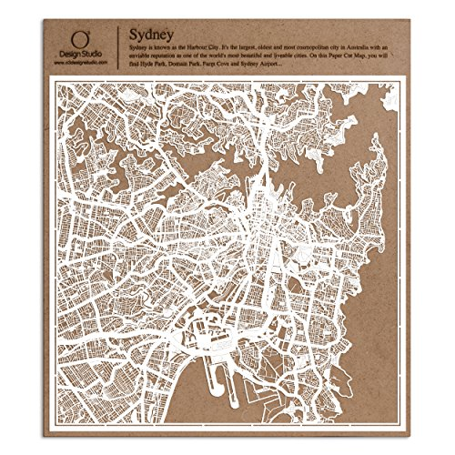 Sydney Scherenschnitt Karte, Weiß 30x30 cm Papierkunst