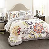 Lush Decor 5 Piece Aster Quilted Comforter Set, Coral/Navy, King Size