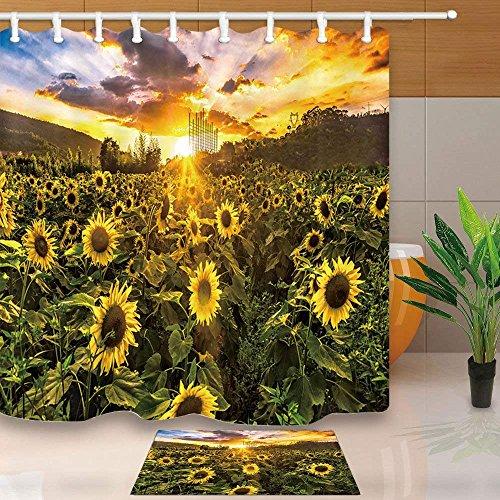 CDHBH Anlage Duschvorhang von Village Farm Sunflower Sky Cloud Sunset Glow 180,3x 180,3cm Schimmelresistent Duschvorhang Set mit 39,9x 59,9cm Flanell Rutschfeste Boden Fußmatte Bad Teppiche