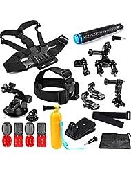 SHOOT Accessoires pack 23 en 1 Kit Sports Camera de plein air Accessoires pour GoPro Hero 5/4/3+/3/2 Xiaomi Xiaoyi Yi 2 4K/ YI 4K+ Tête Poitrine Sangle + Floating Bar + J-crochet + ventouse Accessoires