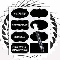 Chalkboard Labels -80 Premium Chalkboard Sticker + White Chalk Marker. Reusable Chalkboard Magnetic Labels,Vinyl Labels for Kitchen,Labels for Jars,Pantry Labels,Chalkboard Sticker.