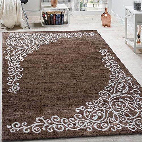 Paco Home Designer Teppich Mit Floral Glitzergarn Muster Beige Weiß Braun Meliert, Grösse:160x220 cm -
