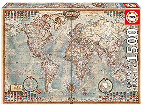 Educa - 16005 - Puzzle Classique - Le Monde, Carte Politique - 1500 Pièces