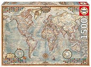 Educa Borrás - Puzzle Mapa Pólitico del mundo, 1500 piezas (16005)