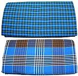 Temple Men's Mixed Cotton Lungi, Set of 2 (Multicolour)