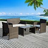 OutsunnyEnsemble Salon Meuble de Jardin 4 Places avec Table Basse en Résine Tressé Gris Noir