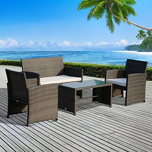 Ensemble salon de jardin 4 places : canapé, 2 fauteuils et table basse plateau verre trempé résine tressée imitation rotin gris coussins blanc neuf 73
